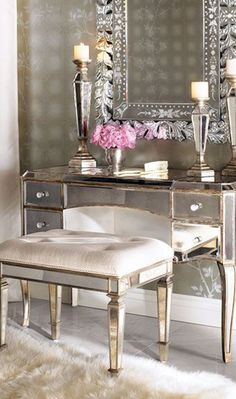 Claudia Mirrored Vanity/Desk & Vanity Seat from Neiman Marcus. Saved to Home Sweet Home ❤. Mirrored Vanity Desk, Mirrored Furniture, Mirror Mirror, Glass Vanity, Mirror Room, Floor Mirror, Hooker Furniture, Office Furniture, Mirrored Bedroom