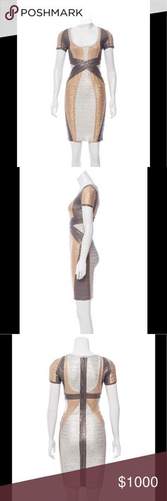 "Herve Leger Carolyn metallic bandage dress NWOT Silver-tone, gold-tone and grey Herve Leger Carolyn metallic bandage dress with scoop neck, short sleeves and concealed zip closure at back.  Waist: 24"" Length: 35.5"" Hip: 30"" Brand new w/o tags  Fabric: 90% Rayon, 9% Nylon, 1% Spandex Herve Leger Dresses Midi"