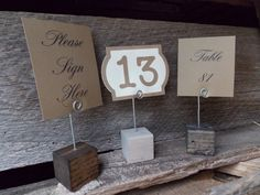 5 Wood Block Wedding Table Number Stand Wood by DownInTheBoondocks, $17.50