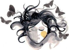Girl with Butterflies  ART PRINT Teacher's Gift Watercolor and inks Fine Art
