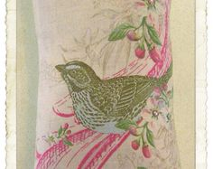 Lavender Sachet with Bird, Flowers, Pink Swirl and Crystal Embellishments
