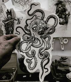 Available tattoo flash Top Tattoos, Body Art Tattoos, Small Tattoos, Tattoos For Guys, Sleeve Tattoos, Octopus Tattoo Design, Octopus Tattoos, Tattoo Designs, Octopus Drawing