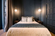 30 modern bedroom headboard ideas - Home Decor Bedroom Gray Bedroom, Home Bedroom, Modern Bedroom, Bedroom Wall, Master Bedroom, Bedroom Decor, Trendy Bedroom, Bedroom Ideas, Bedroom Designs