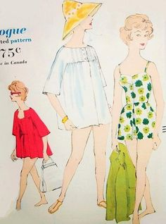 Late 50s Bathing Suit and Beach Coat Pattern Vogue 9737 Flattering Sweetheart Neckline Swimsuit With Attached Skirt Short Cute Beach Coverup Bust 34 Beachwear Vintage Sewing Pattern