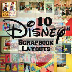 "I especially love the ""Disney Peeps"" page. 10 Disney Scrapbook Layouts!"