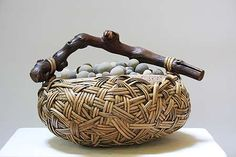 Exploring the Art of Polymer Clay: Marvelous Monday Big Basket, Basket Ideas, Objet Deco Design, Organic Art, Creation Deco, Sticks And Stones, Beach Stones, Weaving Art, Rock Crafts