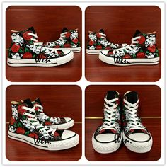 new arrival 3e355 f1eed US  63.2 20% OFF Aliexpress.com   Buy Wen Original Hand Painted Shoes  Design Custom Skulls Red Roses High Top Men Women s Canvas Sneakers  Birthday Presents ...