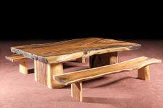 wood dining table, suar slab / Стол обеденный, суар, массив