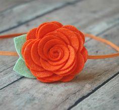 Wool Felt Flower Headband - Large Rose In Orange - Skinny Elastic Headbands. $7.25, via Etsy.