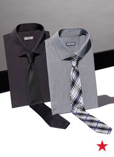 dark and dapper or a little pattern play? Decisions, decisions — Kenneth Cole Reaction dress shirts and ties Dress Shirt And Tie, Tied Shirt, Dress Shirts, Suit Fashion, Mens Fashion, Daily Fashion, Orientation Outfit, Clothing Photography, African Men Fashion