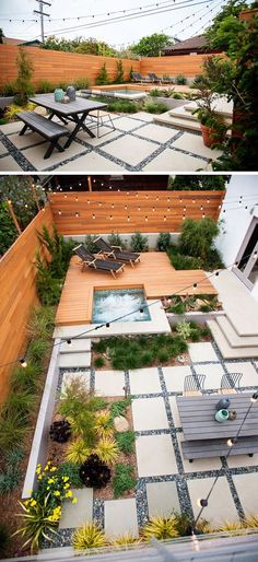 Landscaping Design Ideas - 11 Backyards Designed For Entertaining The multiple levels of this backyard, including the socializing and dining levels and the hot tub and lounge level, make this backyard an ideal place to entertain friends. Hot Tub Backyard, Large Backyard Landscaping, Backyard Patio Designs, Modern Backyard, Modern Landscaping, Landscaping Design, Patio Ideas, Landscaping Software, Porch Ideas