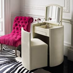 white small dressing table with mirror for modern bedroom designs – Home Decor Modern Dressing Table Designs, Small Dressing Table, Dressing Table With Chair, Dressing Table Mirror, Dressing Tables, Dressing Room, Saloon, Compact Table And Chairs, Modern Bedroom Design