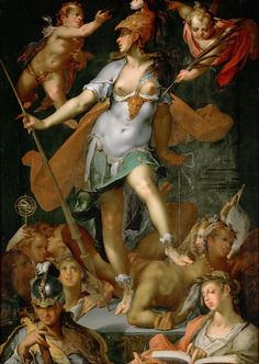 "Northern Mannerism - Bartholomeus Spranger, Minerva triumphs over Ignorance, 1591, ""an astonishing makeover ... [Minerva] never looks as glamourous anywhere else""."