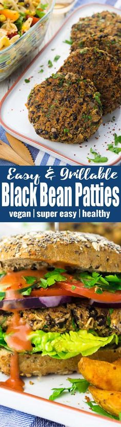 These vegan black bean burgers are my favorite veggie burgers! They're super easy to make, incredibly healthy, and packed with protein. Plus, they're grillable, which makes them perfect for the summer! It's such and easy and healthy vegan recipe!
