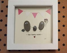 """Quirky Handmade """"Our family rocks"""" Pebble Art Wooden Frame, Ideal Gift, Mothers Day, Birthday, Family of 3 Three Family Of 3, 3 Three, Pebble Art, Wooden Frames, Mothers, Rocks, Crafty, Birthday, Unique Jewelry"""