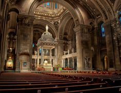 The Basilica of Saint Mary, located in Minneapolis, Minnesota, was designed by Franco-American architect Emmanuel Louis Masqueray and constructed between 1907 and 1915. It was the first basilica established in the United States, and is considered to be among the finest examples of Beaux-Arts architecture in the country.
