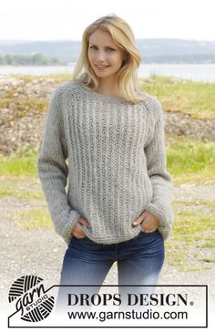 157-20, Knitted jumper with raglan and false English rib worked top down in 2 strands Brushed Alpaca Silk