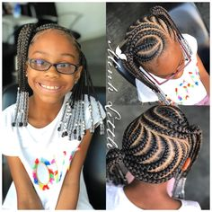 Best Braids With Beads For Girls Kids Cornrows Children Hair 51 Ideas New Braided Hairstyles, Black Kids Hairstyles, Baby Girl Hairstyles, Natural Hairstyles For Kids, Natural Hair Styles, Children Hairstyles, Kids Cornrow Hairstyles, Teenage Hairstyles, Hairstyles Pictures