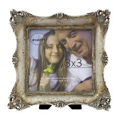 """Wedding Numbers Frame: 3"""" x 3"""" Silver Rustic Frame with Deco Edge"""