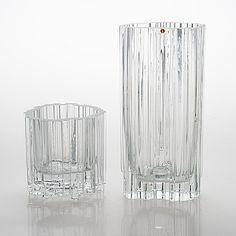 "TAPIO WIRKKALA - Glass vases ""Arkadia"" for Iittala, Finland.   [h. 14 & 29 cm] Glass Design, Design Art, Alvar Aalto, Scandi Style, Nordic Design, Bukowski, Finland, Vases, Scandinavian"