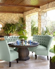 Round Glass-Top Table & Tufted Outdoor Seating, Mist