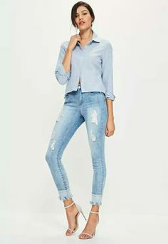 Distress to impress and put the spotlight firmly on your hemline. These jeans feature a skinny fit, destroyed denim details, a reverse hem and light blue hue. This is one for the urban babes! I am distressed, so over time I will become m. Ripped Mom Jeans, Distressed Skinny Jeans, Striped Shirt Dress, Denim Shirt Dress, Denim Jacket With Fur, Oversized Denim Shirt, Denim Mini Skirt, Denim Fashion, Fitness Fashion