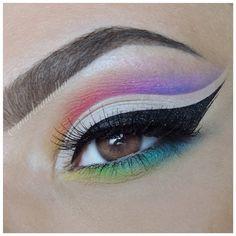 colorful rainbow cut crease @marbiawellen : nude lid, black winged liner, rainbow crease + lower lashline #makeup