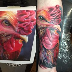Finally got my rooster tattoo on my right forearm. Tattoo was done by Curtis Saffles.