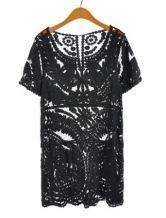 #SheInside Black Short Sleeve Embroidery Sheer Lace Dress $36.45