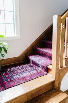 Mix & Matched Patterns: DIY Stair Runner Made with Vintage Rugs - treppe. Carpet Brands, Beautiful Stairs, Painted Stairs, Foyer Decorating, Decorating Ideas, Up House, Best Carpet, Carpet Types, Carpet Stairs