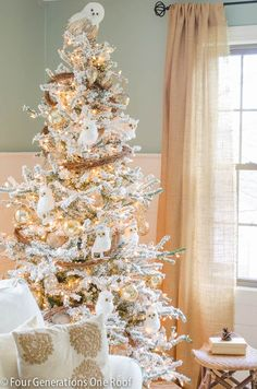 Deck the Halls Christmas Home Tour 2013 by Four Generations one Roof. Love the gorgeous flocked tree!