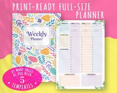 Printable Dated Weekly Planner Floral Style Vertical | Etsy Weekly Schedule Planner, Weekly Planner Template, Agenda Planner, Daily Planner Printable, Teacher Planner, Planner Layout, Planner Inserts, Planner Pages, Schedule Templates