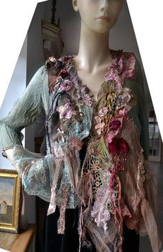 Art To Wear Feminine Silk Transparent Jacket BOUDOIR by Paulina722