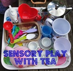 Lots of sensory play & discovery with this tea & water play