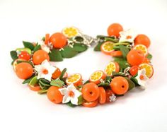 Orange cha cha charm Bracelet - Polymer clay jewelry - Gift for girlfriend - Handmade jewelry - Orange citrus jewellery Jewelry For Her, Wire Jewelry, Jewelry Gifts, Handmade Jewelry, Gold Jewelry, Jewelry Necklaces, Sparkly Jewelry, Gemstone Jewelry, Bracelets