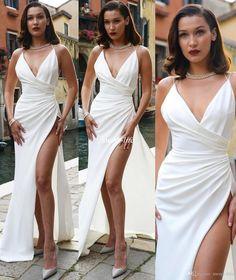 Sexy White V Neck Long Prom Dress, White Evening Dress,Long Formal Gowns,Prom Dresses V Neck Prom Dresses, Sexy Dresses, Bridesmaid Dresses, Wedding Dresses, Dress Prom, Fitted Dresses, Slit Dress, Party Dresses, Slit Skirt
