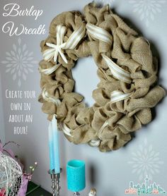DIY Burlap Wreath Tutorial: this easy Beach Theme is fun to make, requires no skill, and can be changed out for any event, party, or decor.