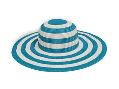 Turq and White Striped Hat