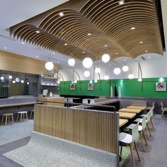 Textured material from canteen to be used for cooking stations - Juanxiaoxian canteen by The Swimming Pool Studio, Beijing – China Pub Design, Retail Design, Restaurant Exterior Design, Wood Cafe, Buffet, Ceiling Materials, Bar Design Awards, Ceiling Treatments, False Ceiling Design
