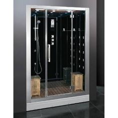 """Check out the Ariel Bath DZ972F8 Platinum 32""""W Steam Shower Enclosure in Black priced at $4,265.50 at Homeclick.com."""