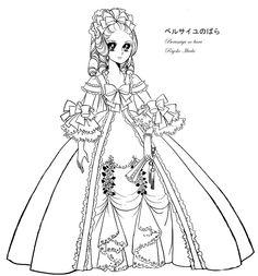Marie Antoinette Lady Oscar coloring sheet line by Emilie-la-vraie
