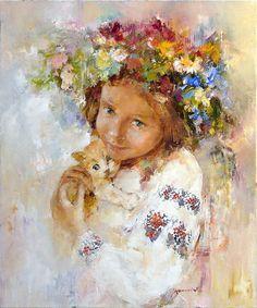 """Ukrainochka and ginger kitten"" , Nichola Fedyaev , oil / canvas #PutDownYourPhone #Carde #Ukraine"