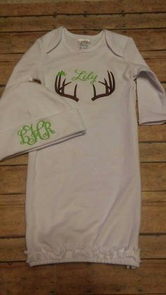 Baby gown. Girl coming home outfit. Deer. Bows. Ruffles. Braylee's Sew Sweet Boutique