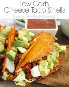 Low Carb Taco Night with Cheese Taco Shells - Home.-Have a low carb taco night with these low carb cheese taco shells made from baked cheddar cheese formed into the shape of a taco! Easy Healthy Recipes, Paleo Recipes, Mexican Food Recipes, Low Carb Recipes, Dinner Recipes, Cooking Recipes, Simple Recipes, Guacamole, Cheese Tacos