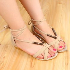 Ulass Three Colors Bohemian Cross Strap Beaded Sandals Roman Style Low-Heeled Casual Open Toe Sandals For Women
