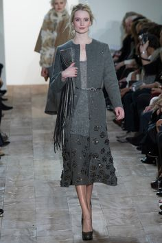 Grey suit coat over sweater paired with matching skirt by @Michael Kors. #IStyleNY #Style