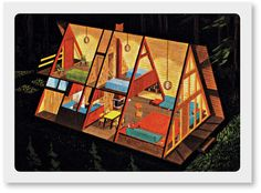 A-Frame House Illustration My dream is to own a a frame lake house. Gable Roof, House Illustration, Cabins And Cottages, Small House Design, Cabin Homes, Prefab Homes, Cabins In The Woods, Little Houses, Small Houses