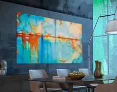 Abstrakte Malerei Türkis blau grün Orange moderne von Artoosh