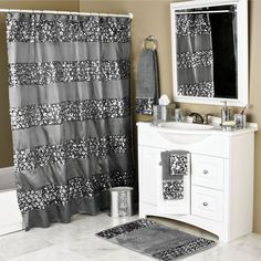 Bring a sophisticated touch to your bathroom decor with this luxury shower curtain and hooks set. Featuring a dazzling cracked glass pattern and metallic silver background on the machine washable mate Bling Bathroom, Silver Bathroom, Bathroom Spa, Bathroom Rugs, White Bathroom, Bathroom Ideas, Bathroom Organization, Minimal Bathroom, Remodel Bathroom