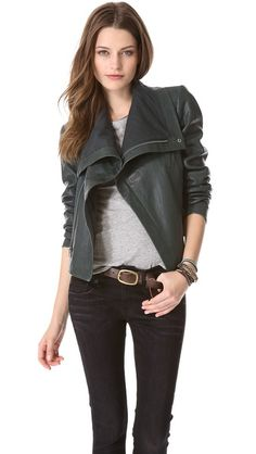 VEDA Max Classic Leather Jacket in Sage Green